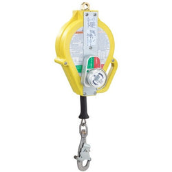 Ultra-Lok™ - 15 m RSQ model. Stainless Steel. Thermoplastic housing. 5 mm cable. Double action stainless steel swivel connector. With fall indicator. 18 mm opening. Anti ratchet system. i-Safe equipped - The PPE Shop