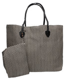 Swanky Swans Wave Print Beach Tote Bag Summer Handbag BlackPerfect for School, Weddings, Day out!