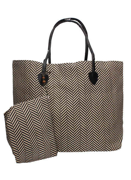 Swanky Swans Wave Print Beach Tote Bag Summer Handbag Black TanPerfect for School, Weddings, Day out!