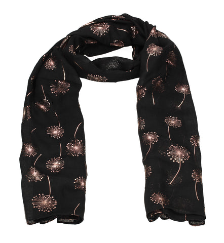 Macy Rose Gold Dandelion Scarf Black