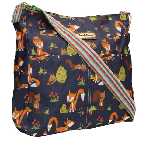 Swanky Swans Freddie Fox & Squirrel Print Summer Crossbody BagWomens Girls Boys School Crossbody Animal Cute