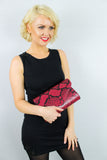 Valena Snakeskin Pattern Clutch Bag Burgundy