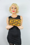 Valena Snakeskin Pattern Clutch Bag Mustard Yellow