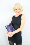 Valena Snakeskin Pattern Clutch Bag Purple