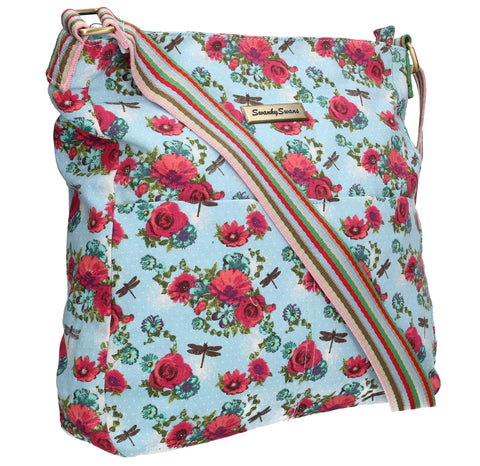 Swanky Swans Hayley Dragonfly & Rose Crossbody Light BlueWomens Girls Boys School Crossbody Animal Cute