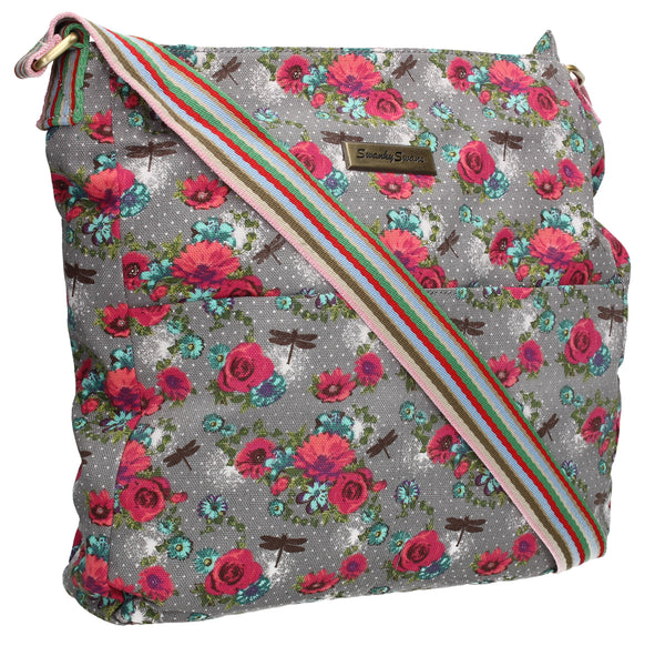 Swanky Swans Hayley Dragonfly & Rose Crossbody GreyWomens Girls Boys School Crossbody Animal Cute