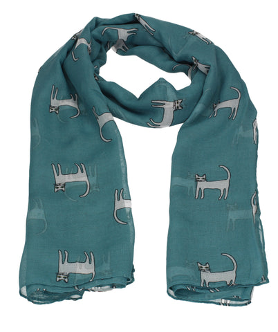Jenny Kitty Cat Print Scarf Turquoise
