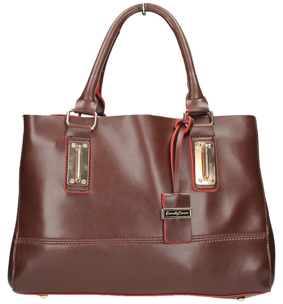 Kelly Two Tone - Brown & Red-Handbags-SWANKYSWANS