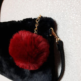 SWANKYSWANS Cara Faux Fur Charm Cross Body Bag Black