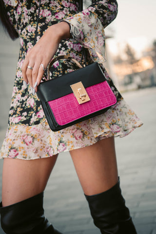 Amanda Structured Crossbody Fuchsia Pink