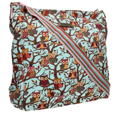 Swanky Swans Classic Tree Owl Print Crossbody Bag in BlueWomens Girls Boys School Crossbody Animal Cute