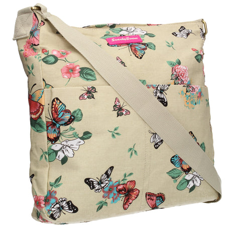 Swanky Swans Casper Butterfly Print Crossbody Bag in BeigeWomens Girls Boys School Crossbody Animal Cute