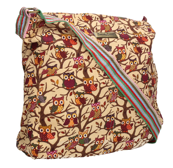 Swanky Swans Classic Tree Owl Print Crossbody Bag in BeigeWomens Girls Boys School Crossbody Animal Cute