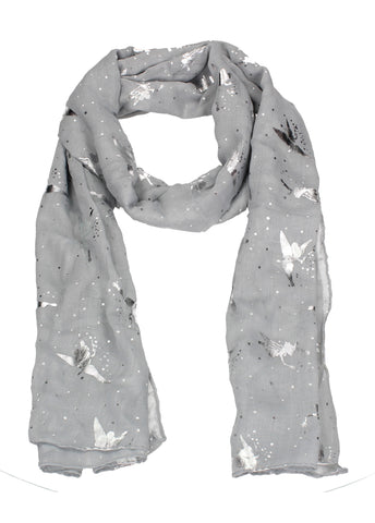 Sally Fairy Print Silver Foil Winter Scarf Grey