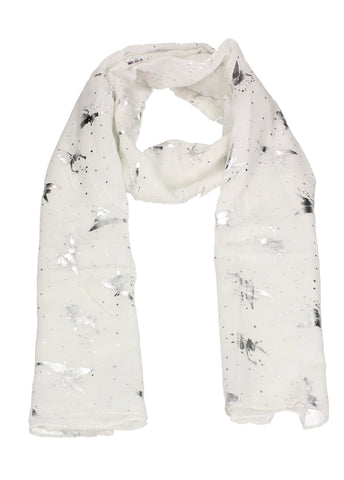Sally Fairy Print Silver Foil Winter Scarf White