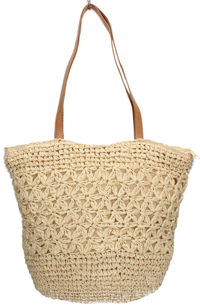 Swanky Swans Straw Soft Bucket Style Beach Tote Bag Summer HandbagPerfect for School, Weddings, Day out!