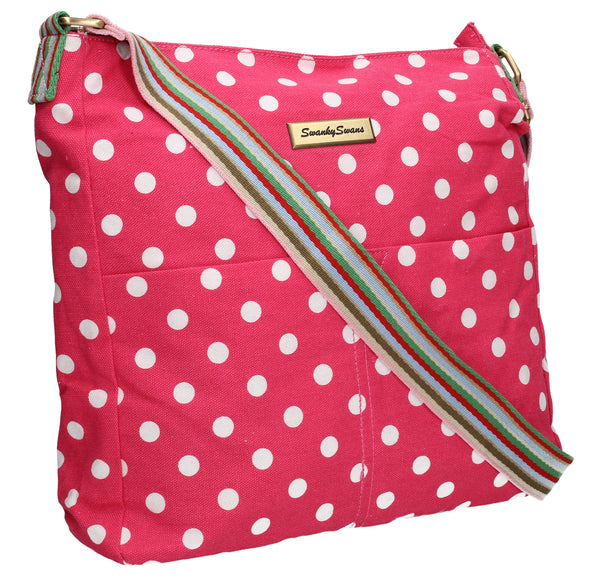 Swanky Swans Kirsty Polka Dot Crossbody PinkWomens Girls Boys School Crossbody Animal Cute