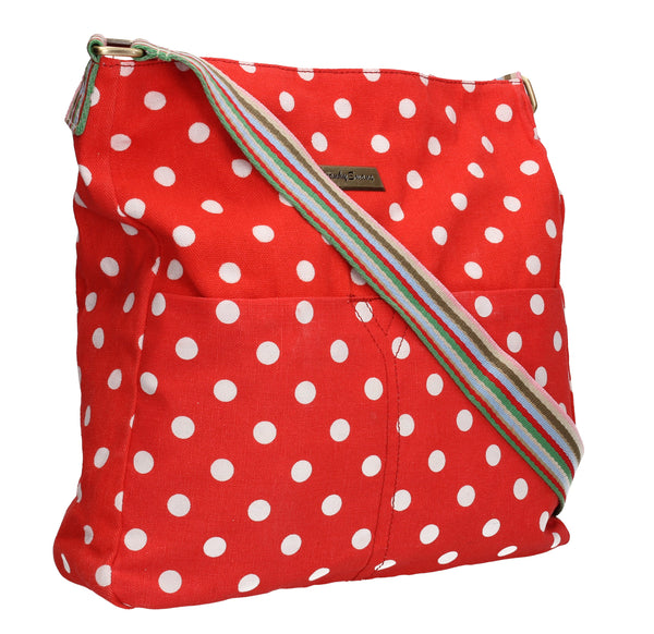 Swanky Swans Kirsty Polka Dot Crossbody RedWomens Girls Boys School Crossbody Animal Cute