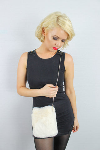 River Faux Fur Crossbody Clutch Bag Cream