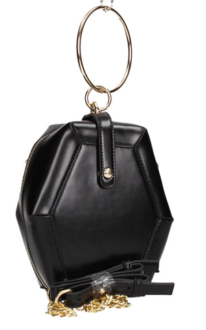 SWANKYSWANS Amberly Hexagon Clutch Bag Black Cute Cheap Clutch Bag For Weddings School and Work