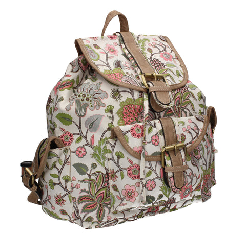 Anna Vintage Flowers Canvas Backpack Off White