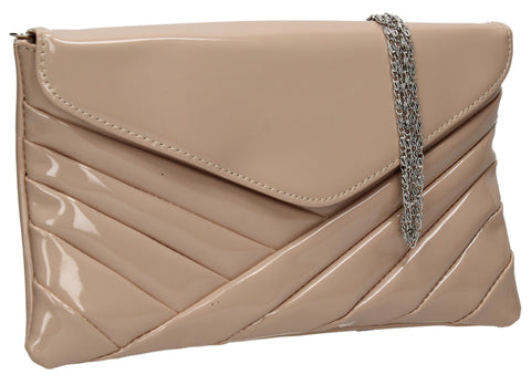 SWANKYSWANS California Patent Clutch Bag Beige Cute Cheap Clutch Bag For Weddings School and Work