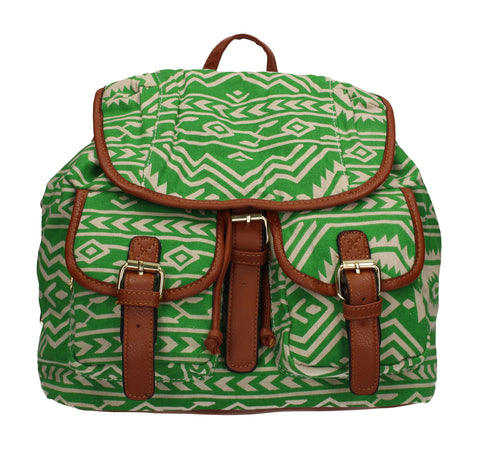 Anna Vintage Aztec Canvas Backpack Green
