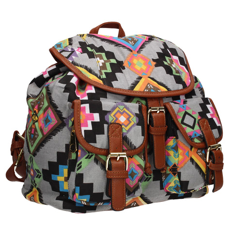 Anna Vintage Tribal Print Canvas Backpack Grey