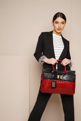Bedford Handbag Black & Red