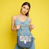 Sara Vintage Denim & Lace Crossbody Blue White