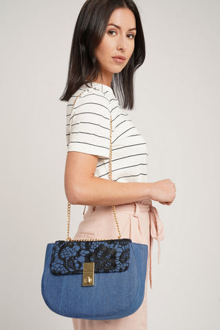 Sara Vintage Denim & Lace Crossbody Blue Black