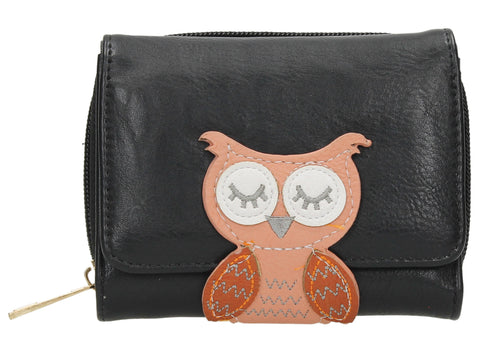 Oli Owl Animal Snap Wallet - Black-Purse-SWANKYSWANS