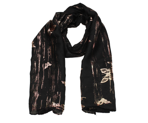 Sarah Butterfly Rose Gold Foil Scarf Black