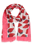 Strawberry Fruit Print Scarf Pink