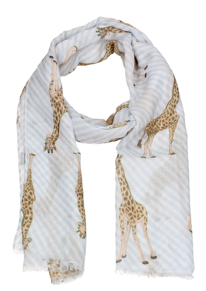 Giraffe Animal Print Scarf White