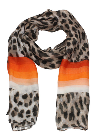 Leopard Print Striped Scarf Red