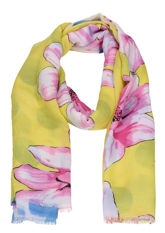 Pink Blossom Floral Print Scarf Yellow