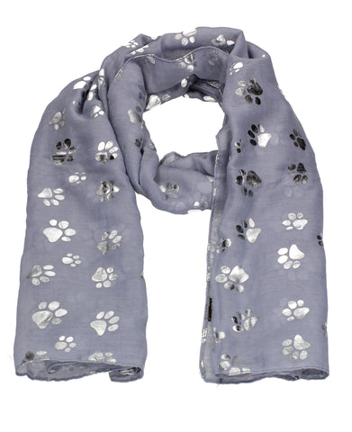 Holly Silver Foil Paw Print Puppy Dog Scarf Lilac
