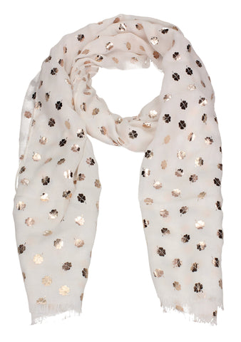 Four Leaf Clover Rose Gold Foil Print Scarf White