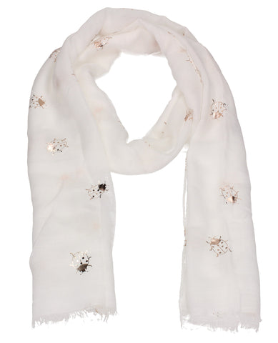 Ladybird Rose Gold Foil Animal Print Scarf White