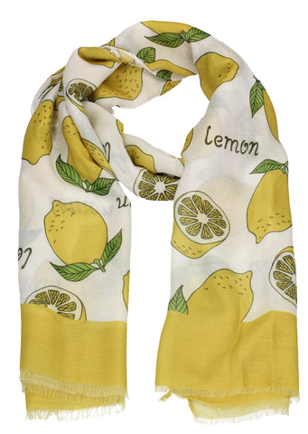 Lemon Fruit Print Scarf Yellow