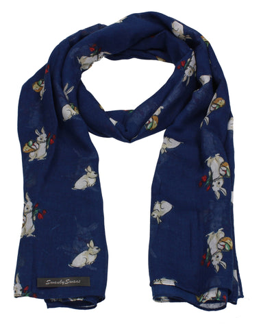 Ronnie Bunny Rabbit Print Winter Scarf Navy Blue