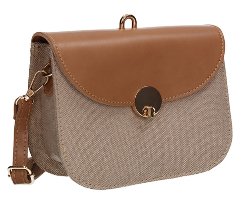 Ember Faux Leather Canvas Flapover Crossbody Apricot
