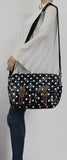 Ashley Poka Dot Double Pocket Satchel Black-Satchels-SWANKYSWANS