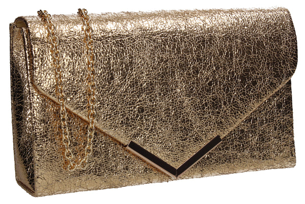 SWANKYSWANS Averie Clutch Bag Gold Cute Cheap Clutch Bag For Weddings School and Work