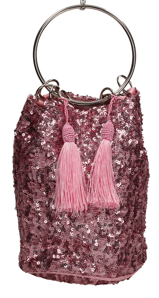 Denise Sequin & Ring Clutch Bag Pink