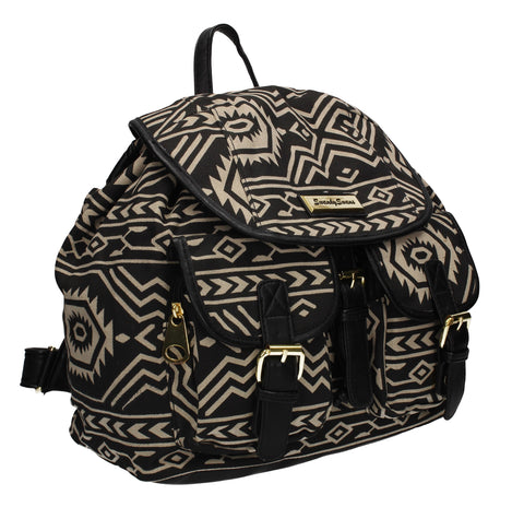 Anna Vintage Aztec Canvas Backpack Black