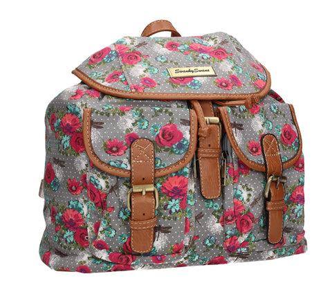 Anna Vintage Flowers Dragonfly Canvas Backpack Grey