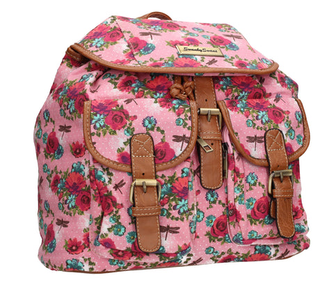 Anna Vintage Flowers Dragonfly Canvas Backpack Pink