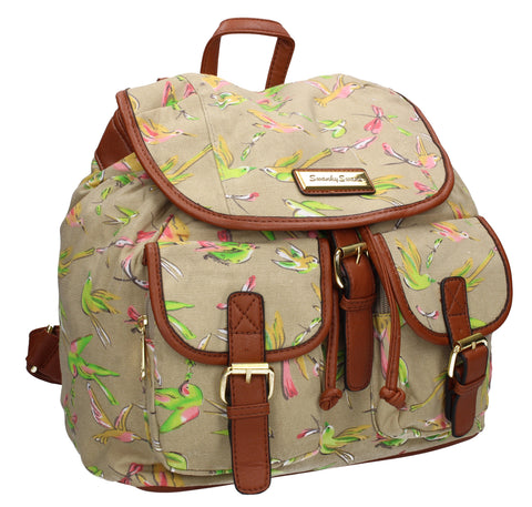 Anna Vintage Birds Canvas Backpack Beige